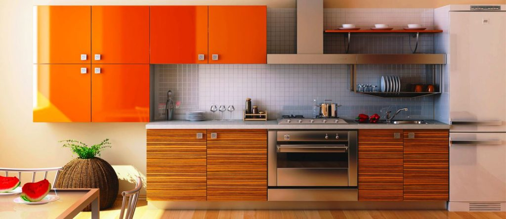 Стильная линейная кухня в ярком цвете