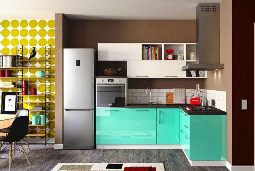 Компактный угловой кухонный гарнитур в интерьере студии