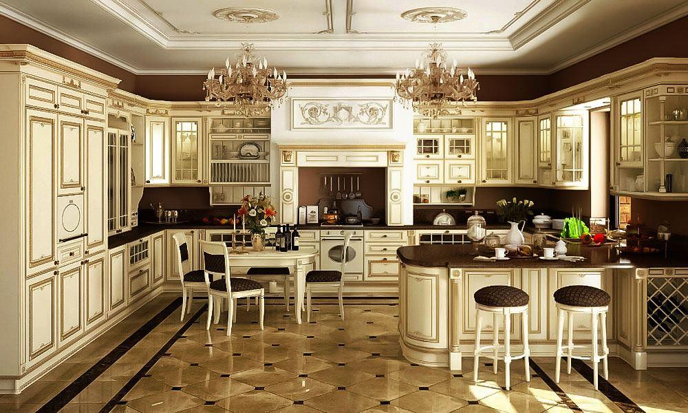 Фото роскошной кухни в классическом стиле П-образной планировки с порталом над плитой