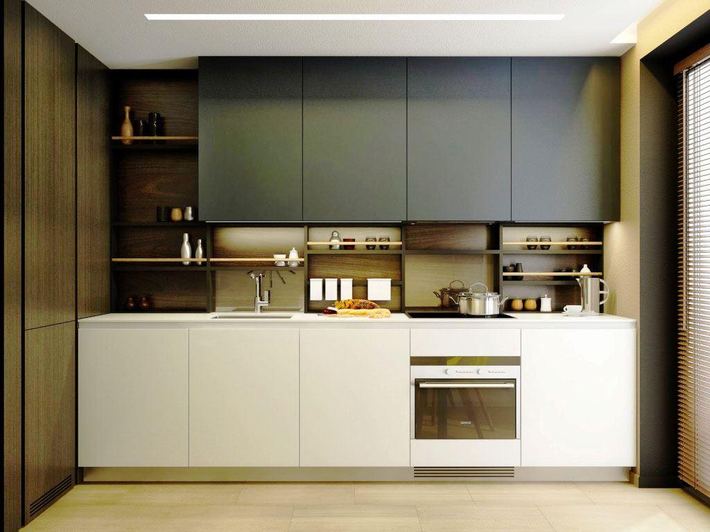 Кухонный гарнитур для маленькой кухни в хай тек стиле