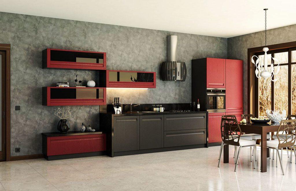 Фото стильного кухонного гарнитура с деревянными фасадами