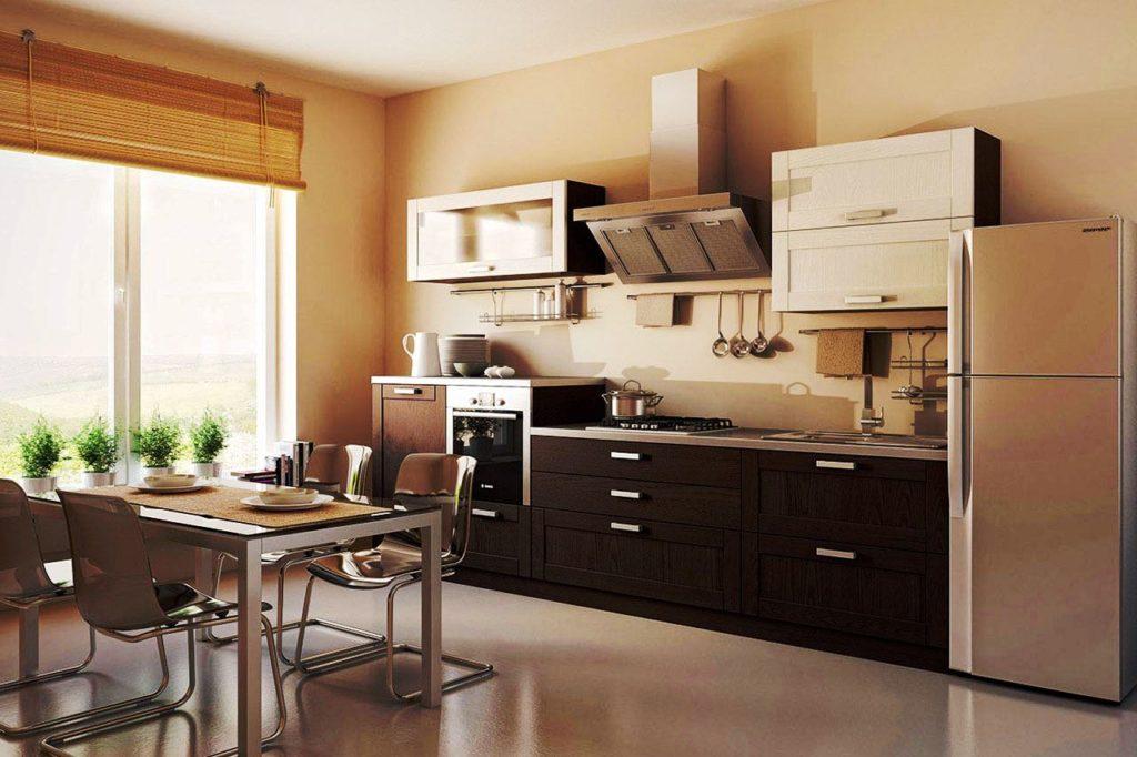 Фото линейного кухонного гарнитура в интерьере