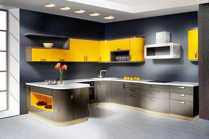 Фото современной П-образной кухни