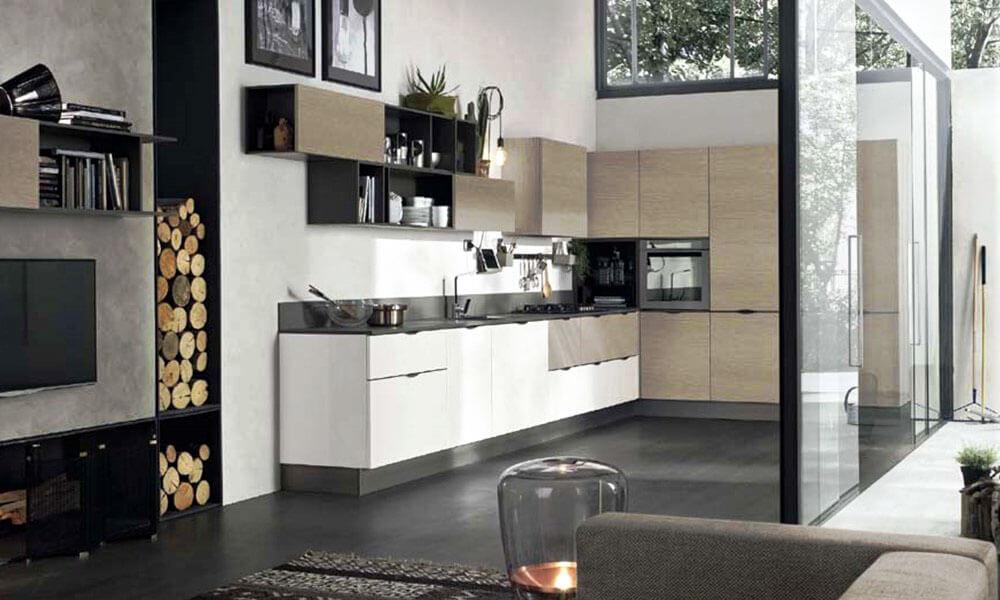 Фото интерьера современной кухни с угловым гарнитуром