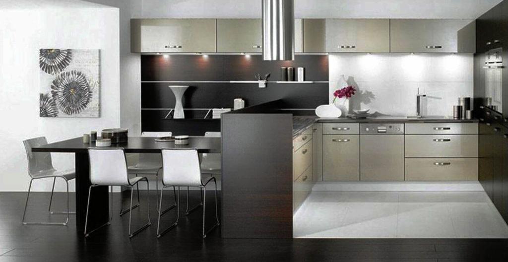 Современная кухонная мебель с глянцевыми фасадами