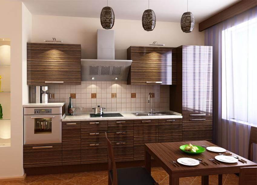 Фото кухни со встроенной духовкой и холодильником
