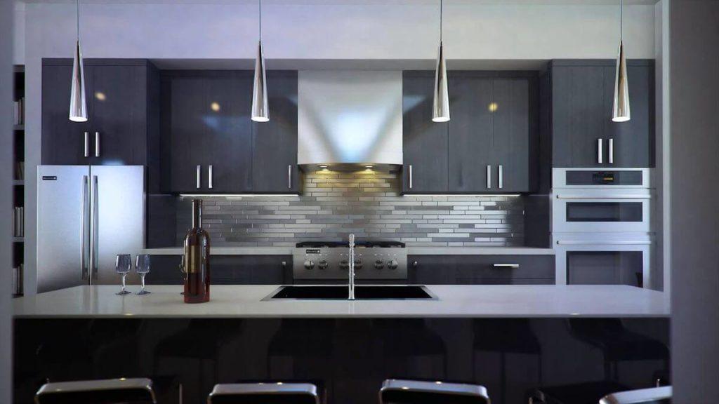 Фото кухни с вытяжкой встроенной в верхний навесной шкаф