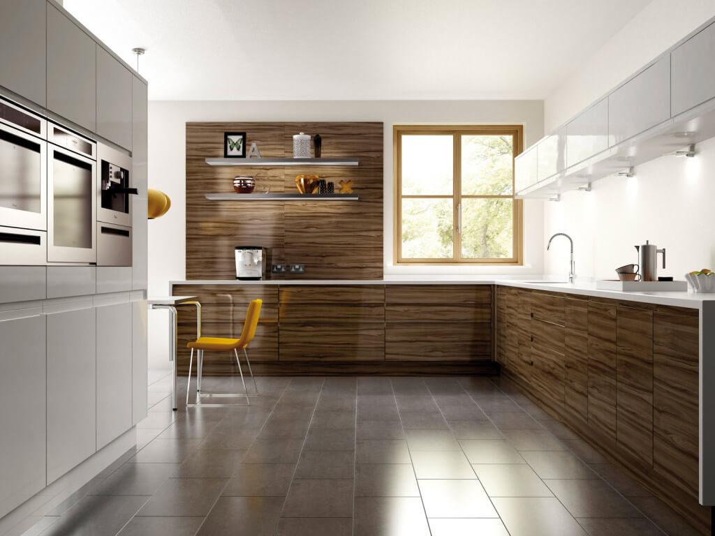 Современная угловая встроенная кухня