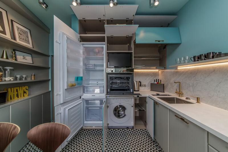 Фото внутреннего наполнения встроенной кухни