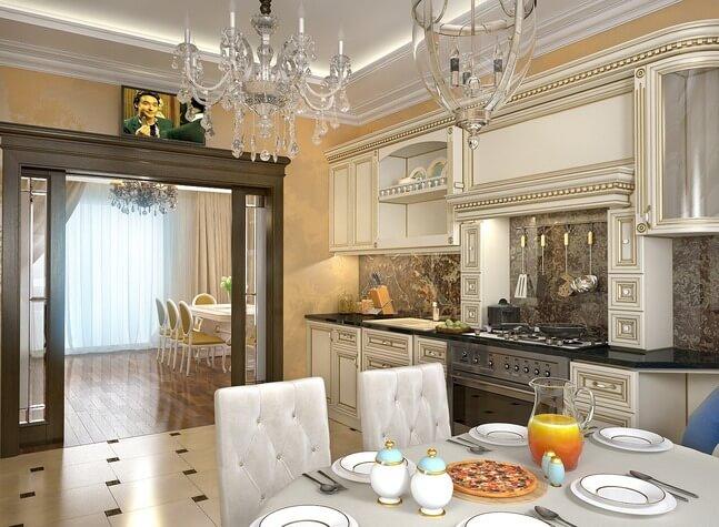 Фото встроенной кухни в классическом стиле