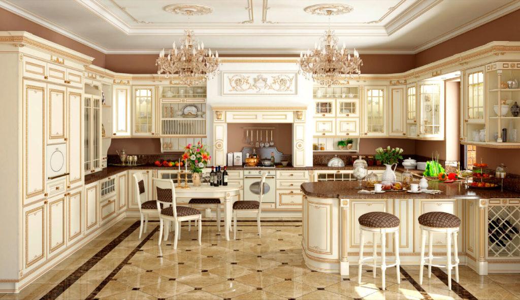 Фото кухни в классическом стиле с вытяжкой спрятанной в навесных шкафах портала над плитой