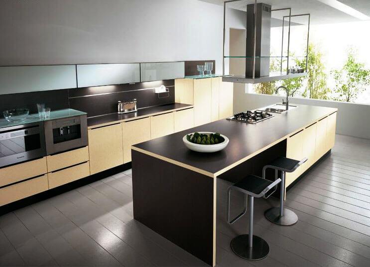 Фото кухонного острова совмещающего зону для готовки и обеденный стол