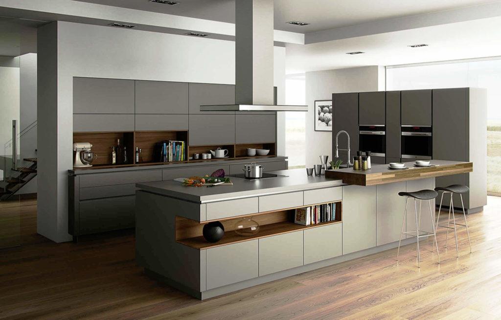 Кухня в современном стиле с кухонным островом в интерьере