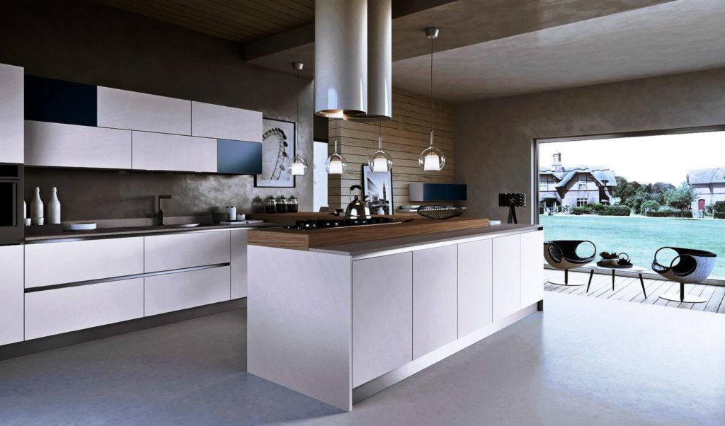 Вытянутый кухонный остров с варочной панелью