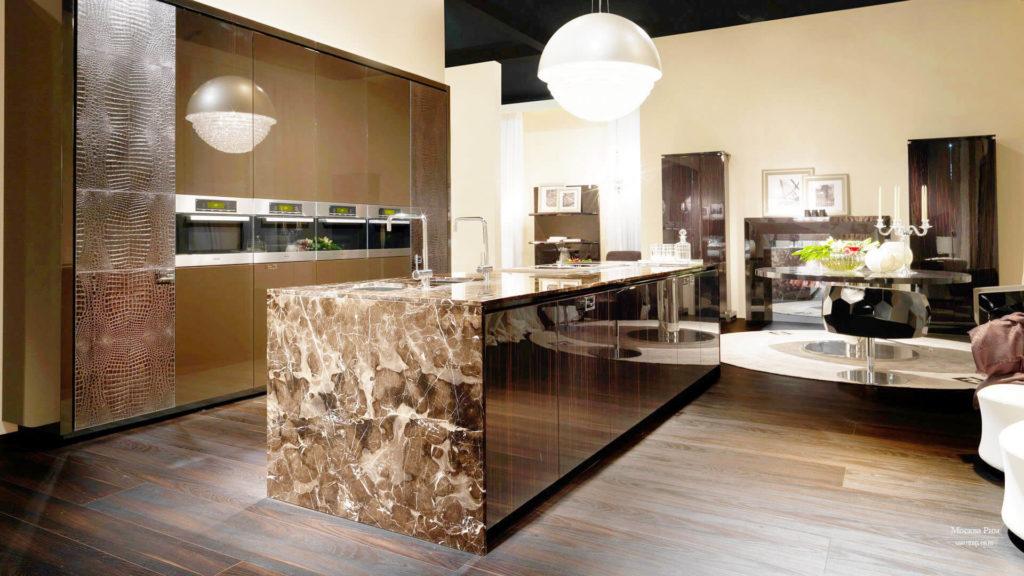 Фото интерьера кухни с островом отделанным натуральным камнем с высокими декоративными качествами