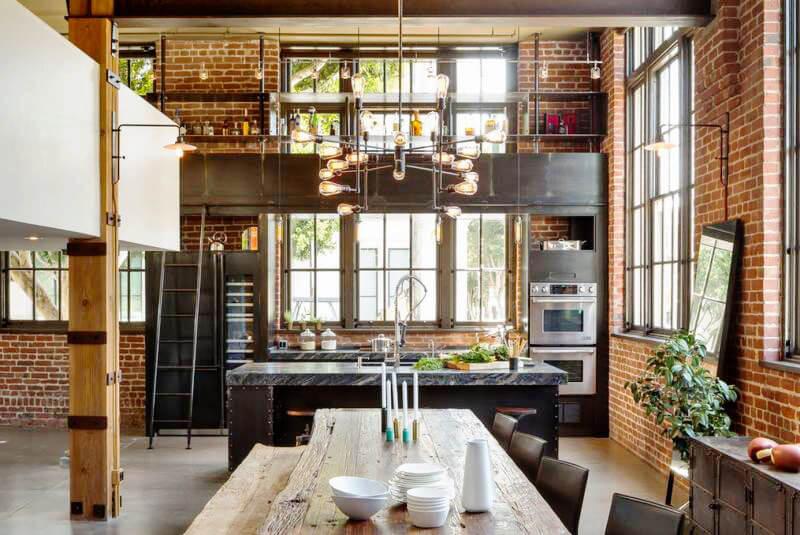 Кухня в стиле Лофт с двумя встроенными друг над другом в пенал духовками