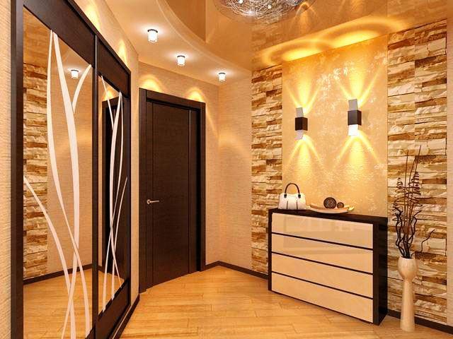Прямой встроенный шкаф купе в интерьере прихожей с зеркальными резными фасадами