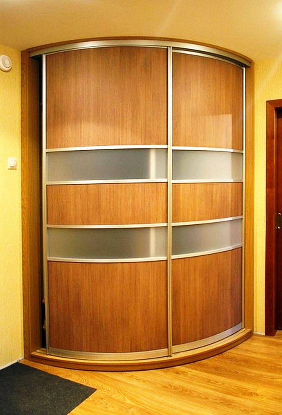 Шкафы-купе радиальные, варианты конструкций и дверей-купе.