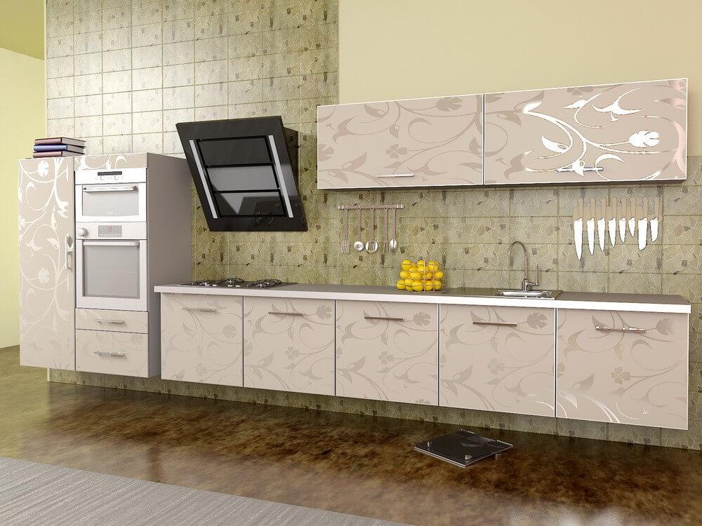 Акриловый кухонный гарнитур с рисунком