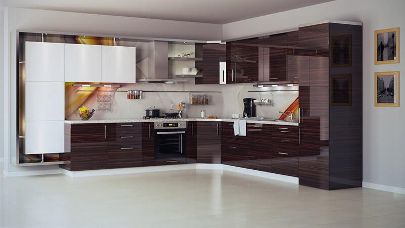 Фото акриловой кухни с текстурой дерева