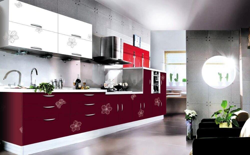 Кухонный гарнитур в комбинированных цветах с акриловым покрытием с рисунком