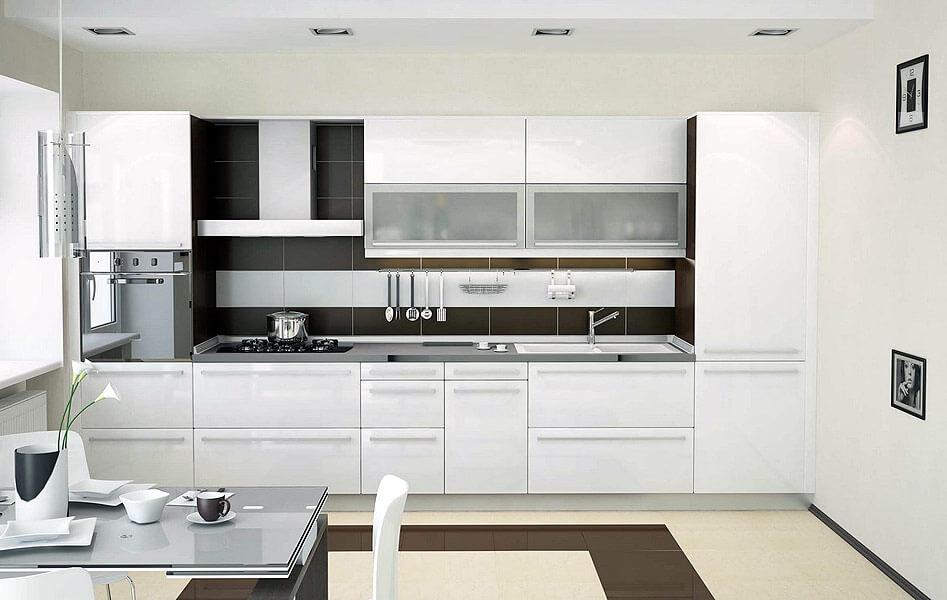 Белый акриловый фасад кухонного гарнитура