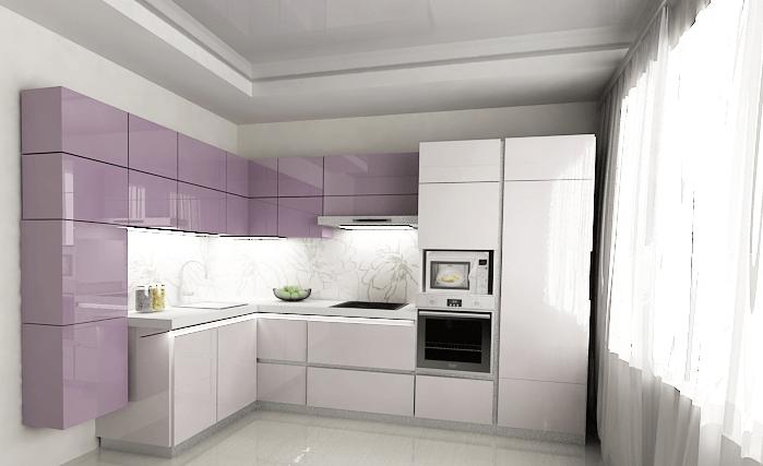 Фото современной кухни с фасадами покрытыми акрилом
