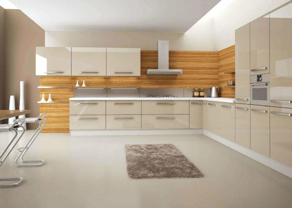 Угловая кухня с акриловым фасадом