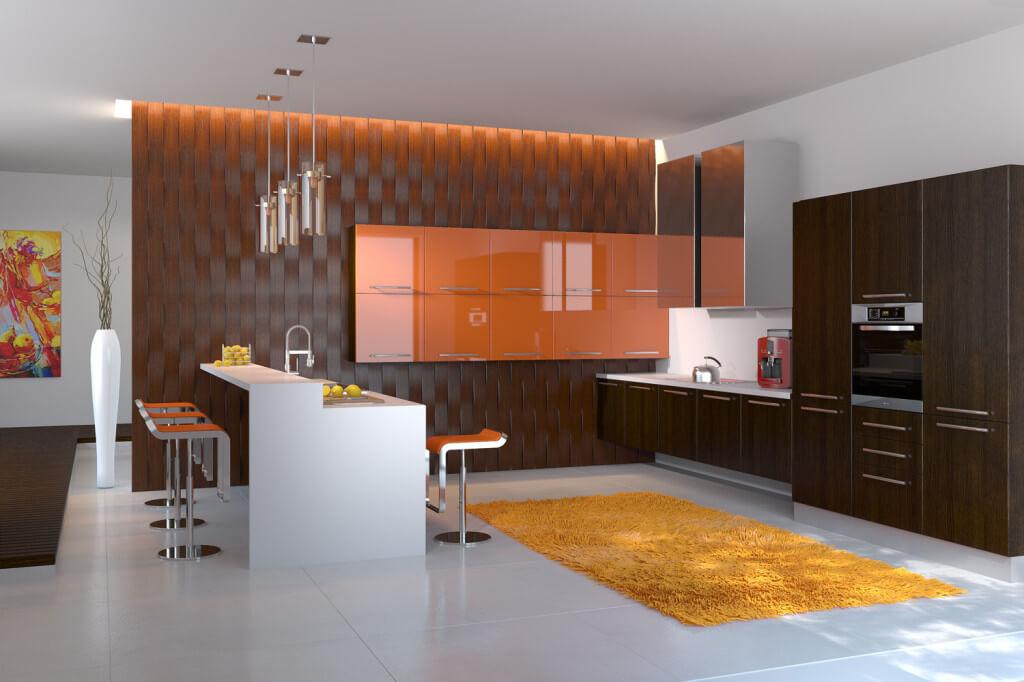 Фото кухни с акриловым фасадом