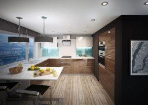 Фото акриловой кухни с текстурой под дерево