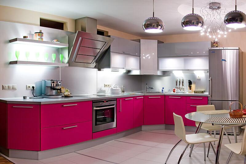 Матовый розовый кухонный гарнитур с акриловым покрытием