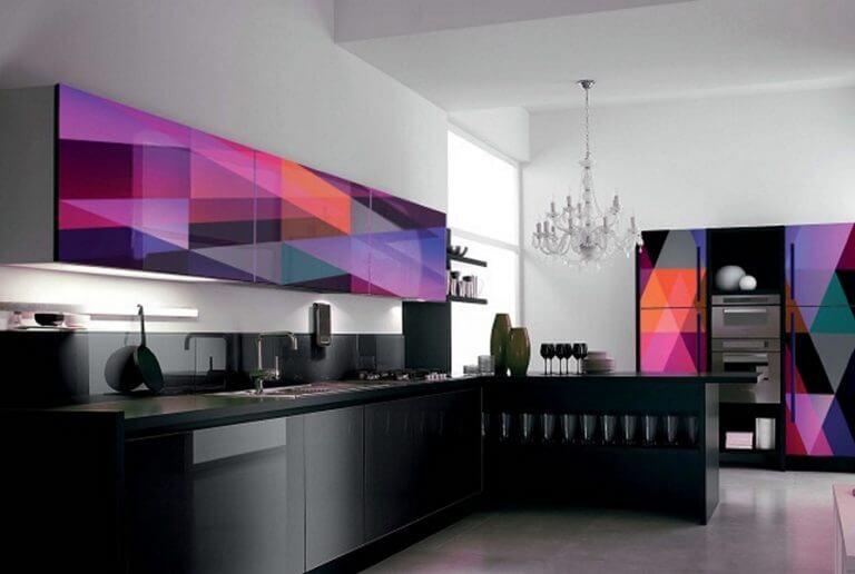 Кухонные акриловые фасады с 3D рисунком