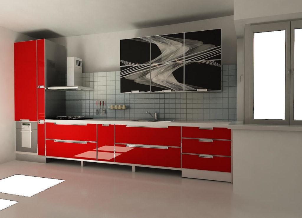 Кухня с алюминиевым фасадом