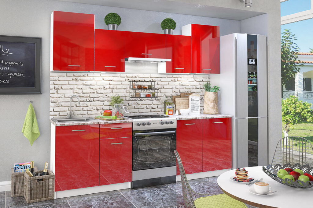 Кухонный гарнитур с покрытием фасадов глянцевой плёнкой ПВХ