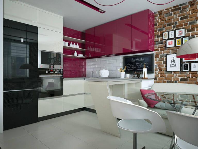 Интерьер кухни с глянцевым гарнитуром