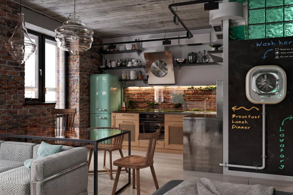 Стильная кухня с угловым кухонным гарнитуром