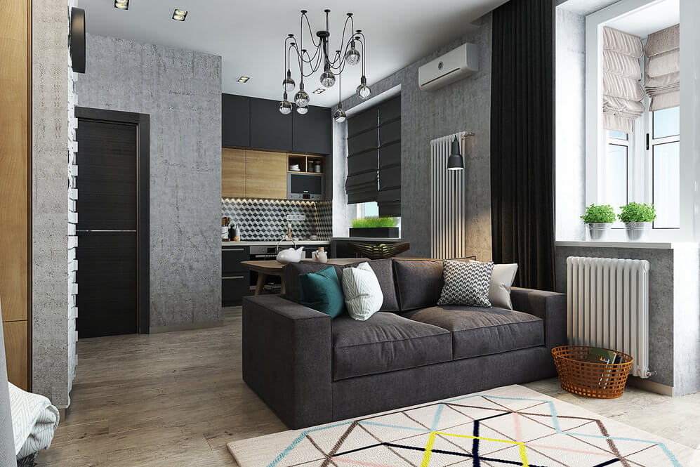 Интерьер квартиры студии с кухней в углублении