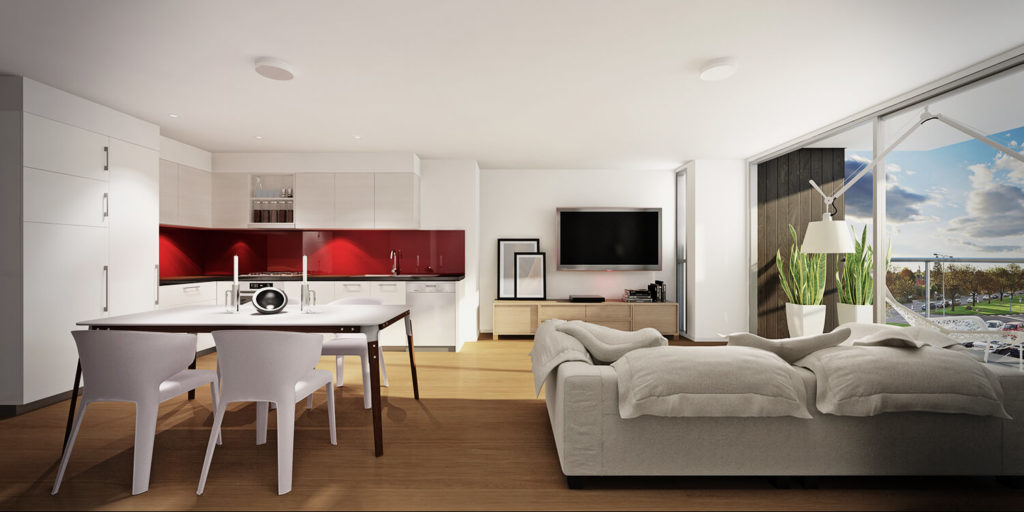 Просторная квартира студия с угловым кухонным гарнитуром