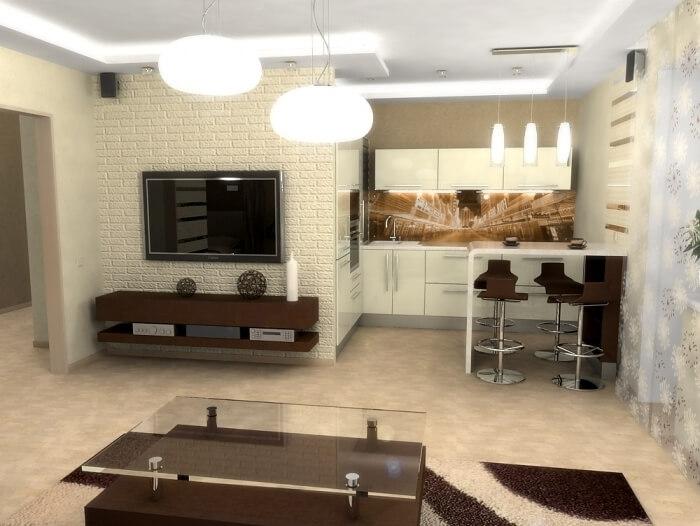 Кухня с глянцевыми белыми фасадами в интерьере студии