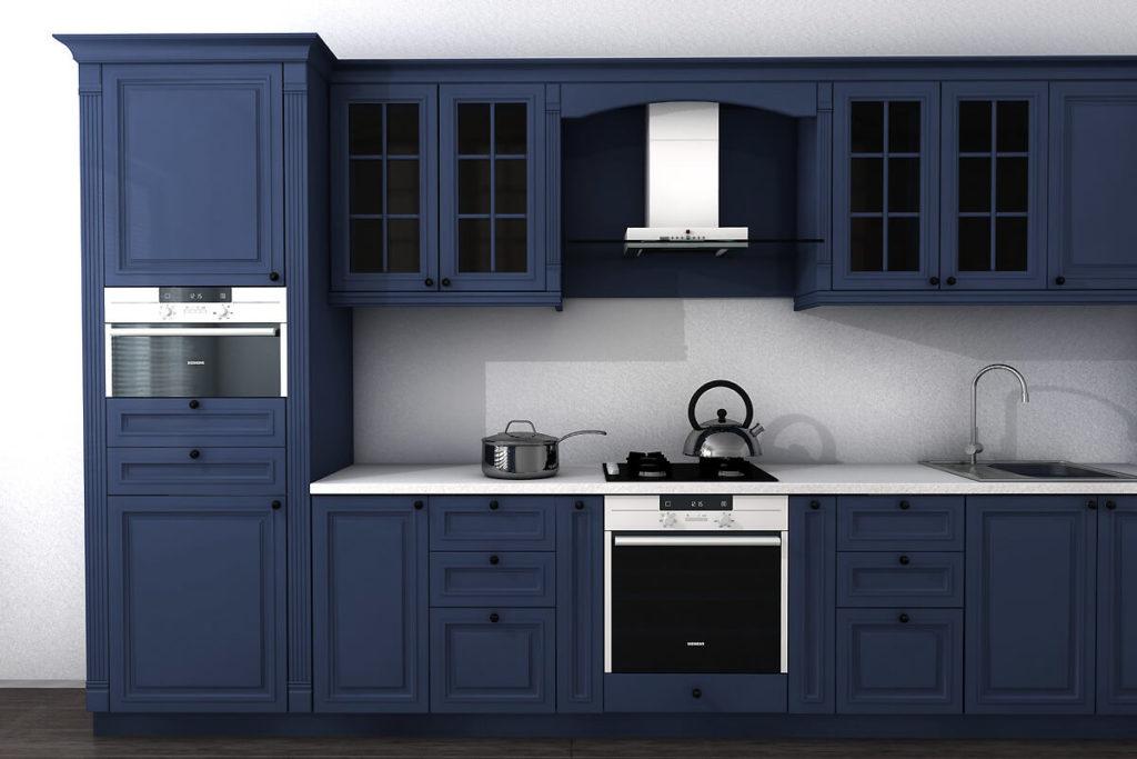 Кухня в классическом стиле с крашенными матовыми фасадами