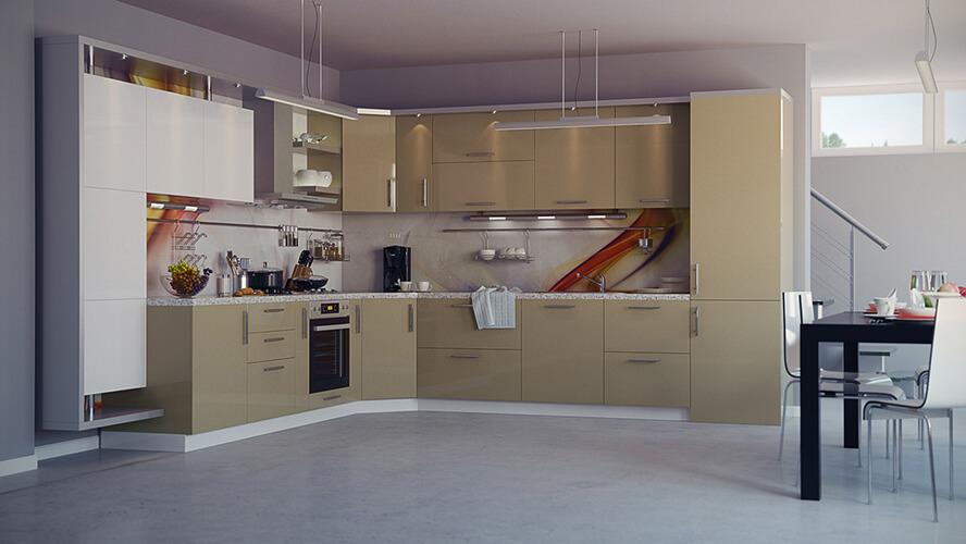 Угловой кухонный гарнитур с эмалированным МДФ фасадом