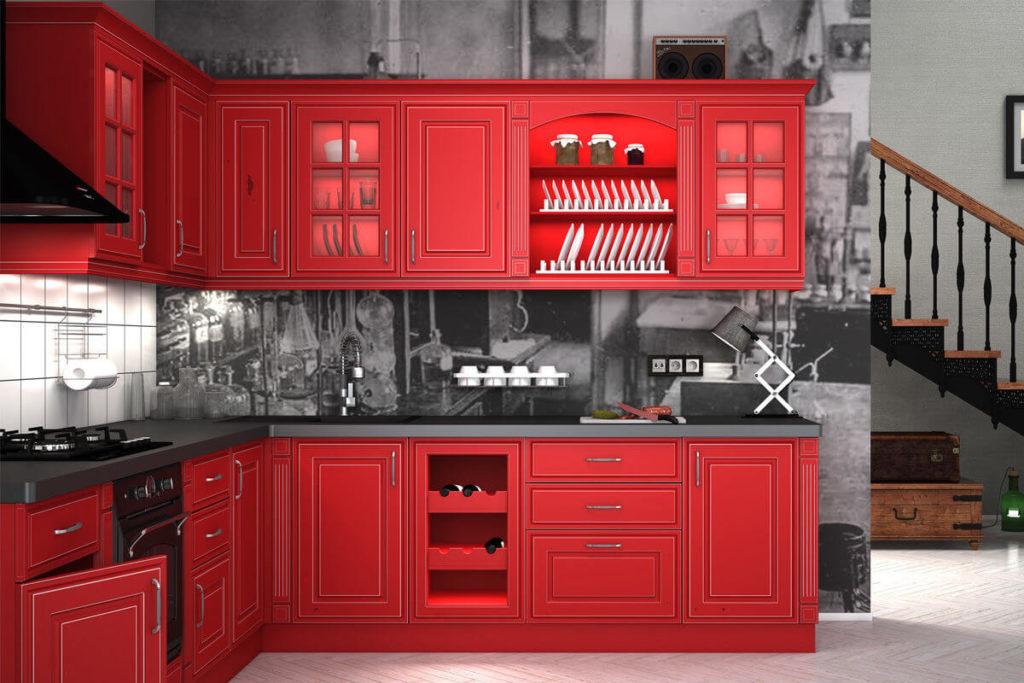 Кухонный гарнитур в классическом стиле с крашенным матовым фасадом