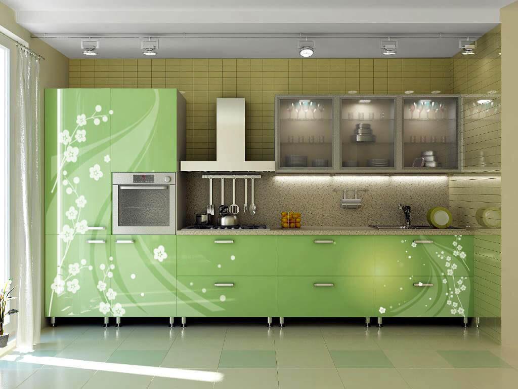Кухонный эмалированный МДФ фасадом с декором в виде рисунка