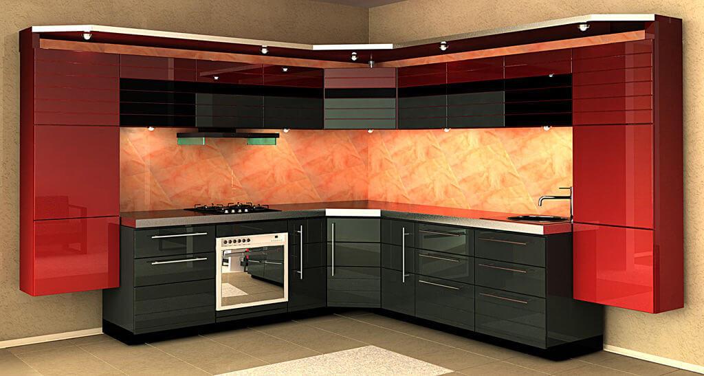 Современный кухонный гарнитур с МДФ фасадами покрытыми эмалью