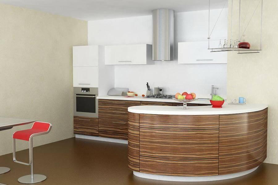 Кухня с полуостровом с шпонированным фасадом