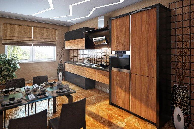 Фото интерьера кухни с кухонным гарнитуром отделанным древесным шпоном