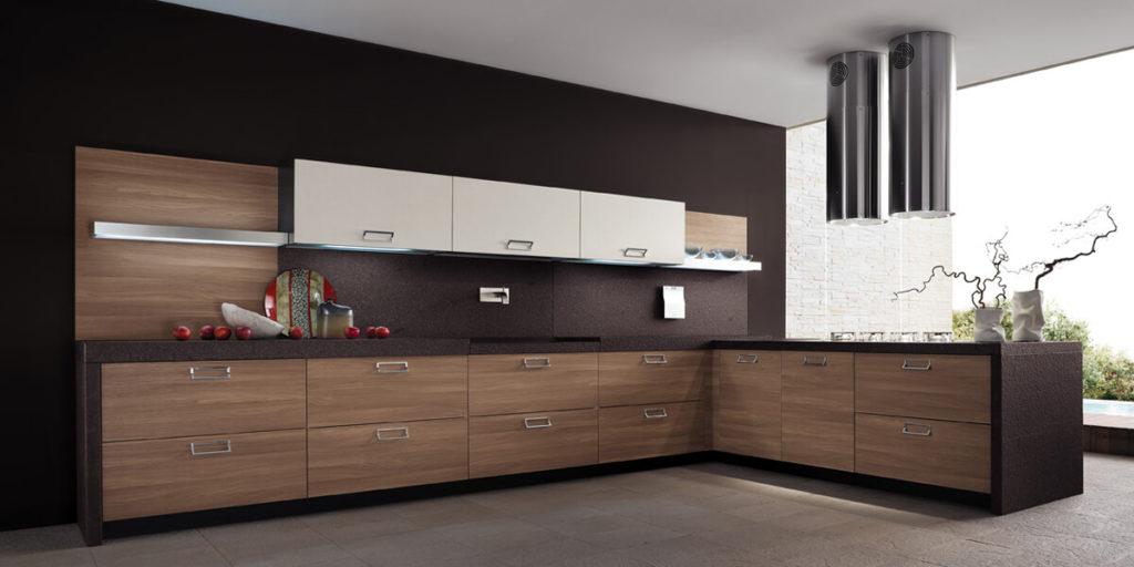 Современный угловой кухонный гарнитур с фасадами из шпона