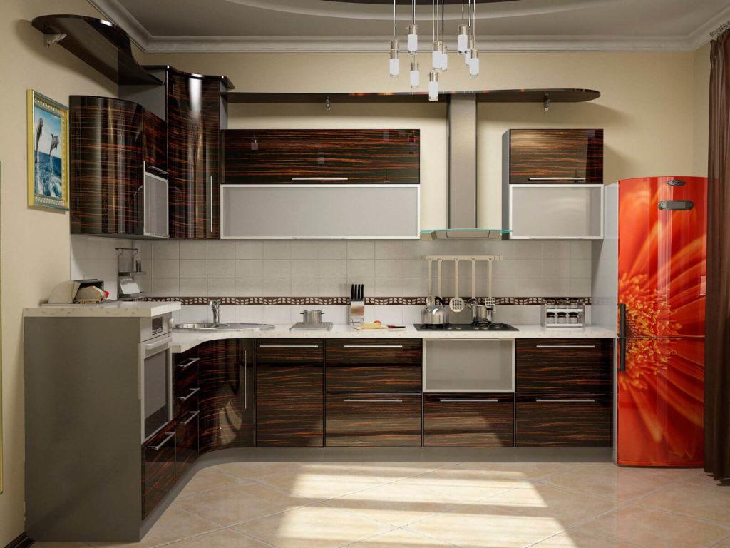 Угловая кухня с фасадом из шпона