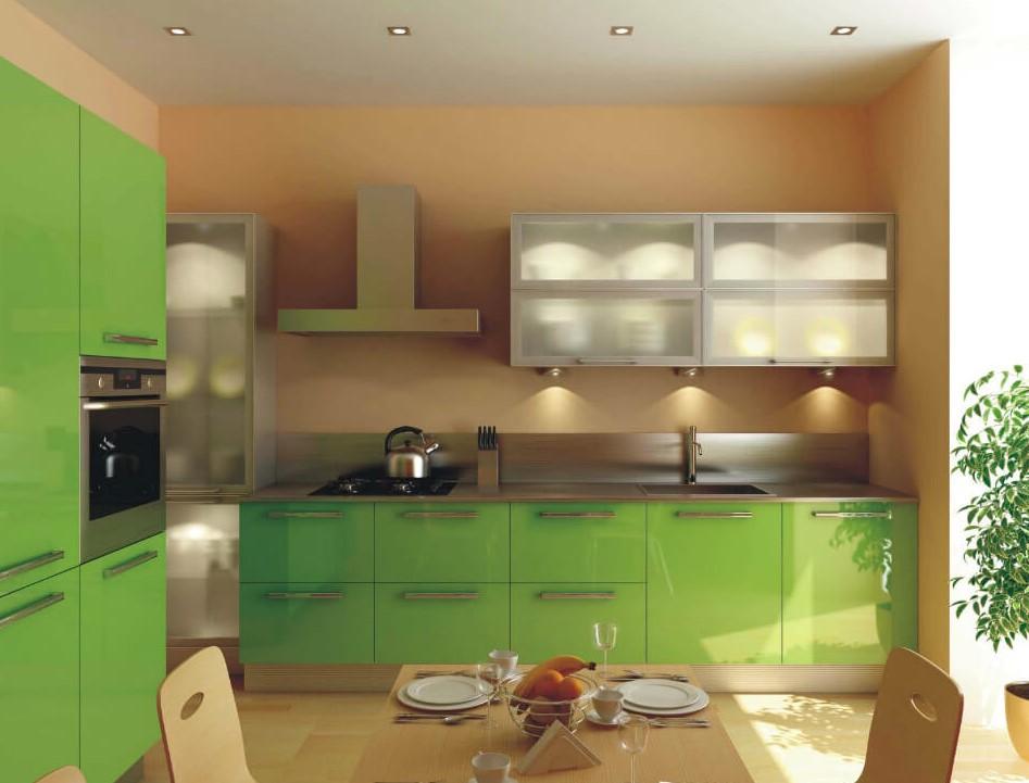 Зеленый кухонный гарнитур с глянцевым пластиковым покрытием фасадов