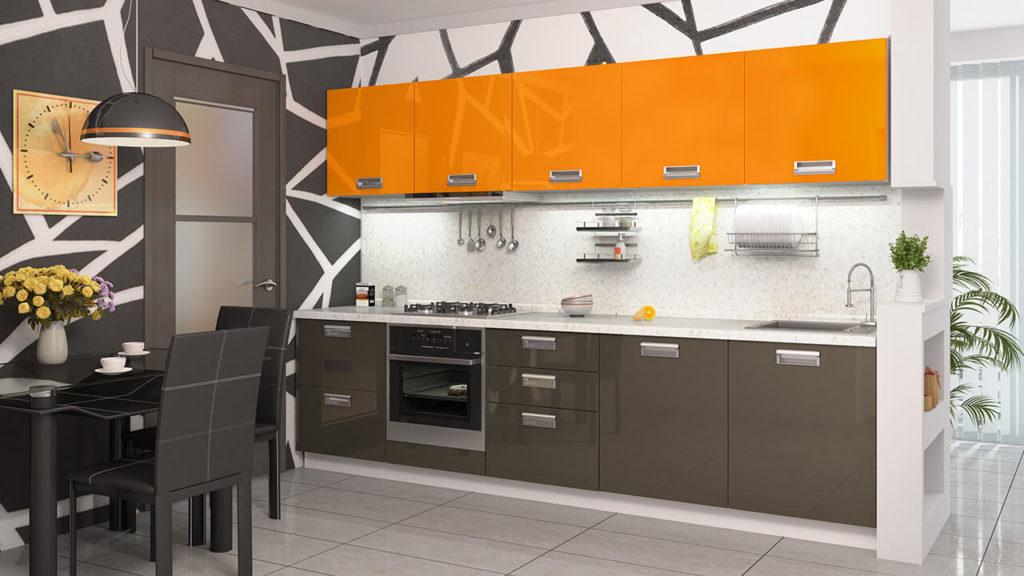 Фото кухонного гарнитура с пластиковым покрытием фасадов